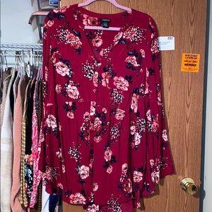 Torrid floral long sleeved babydoll shirt Size 2